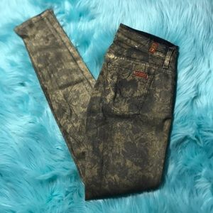 7 for all mankind 26 gold skinny jeans